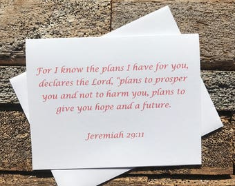 Jeremiah 29:11 Bible Verse Note Card