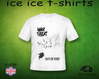Minor threat - out of step - punk - Adult white t-shirt - brand new