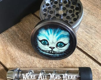 Chesire cat custom herb grinder and twisty glass blunt pipe. We're all mad here. Gift set. Perfect gift for the Alice fan!