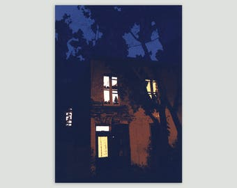 "Montreal House at Night 5x7"" Screen Print"