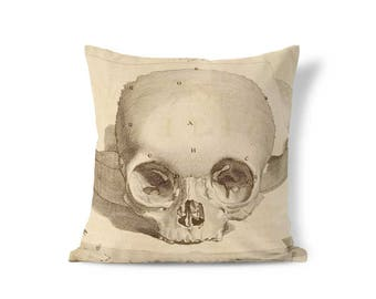 Skull Pillow - Macabre Decor - Pillow Sham - Retro Pillow - Skull Decor - Vintage Pillow Case - Decorative Pillow - Accent Pillow