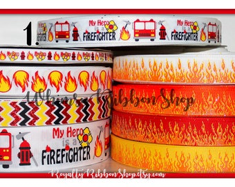 USDR 7/8 Glitter foil FIREMAN Red truck engine chevron on white red orange yellow Grosgrain ribbon hair bows boys girls support fire flames