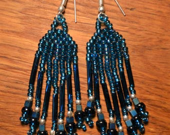Handmade Glass Beaded Earrings Electric Blue