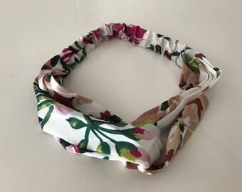 Flower print silk headband, knot headband, silk headband, flower girl headband, wedding headband