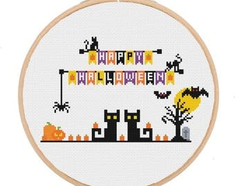 Happy Halloween cross stitch patterns Halloween Happy Halloween Wall Decor Halloween  DIY Halloween craft cross stitch halloween cat