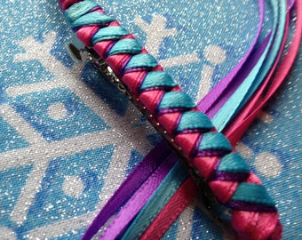 Ribbon Barrette / Turquoise, Hot Pink and Purple