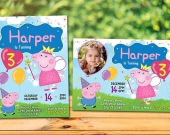 Peppa Pig Birthday Invitation, Peppa Pig Invitation, Peppa Pig Party, Personalized Invite Printable Digital Peppa Pig Birthday Invitation