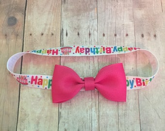 First Birthday Headband, Baby headband, baby bow, bow with headband, Happy Birthday