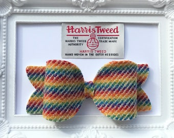 Large rainbow Harris Tweed hair clip, hair tie bobble or elastic hairband hair bow fabric felt fleece