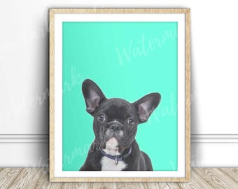 French bulldog art print Black dog wall art nursery poster Mint Digital printable Instant Download