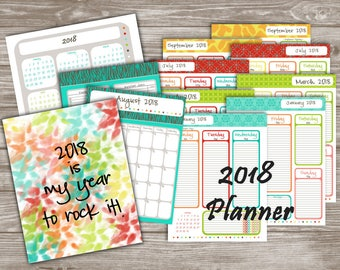 2018 Yearly Weekly Monthly Planner Agenda, Dated and Numbered Calendar