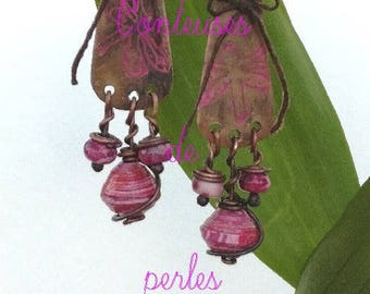 Earrings, rustic, ethnic, copper, pink, pearl, handmade, unique, artisan creation