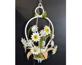 Vintage Toleware 4 Light Chandelier White Flowers in a Basket Hand Painted Tole