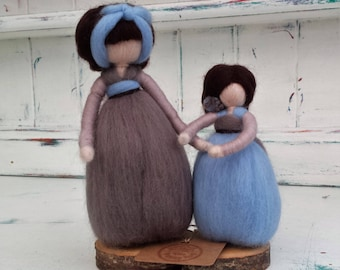 Needle Felted Fairy, Mother and daughter,  Waldorf Inspired, Figure, Brown and Blue figure, Angel, Ornament, Felted doll, Faerie, Figurine