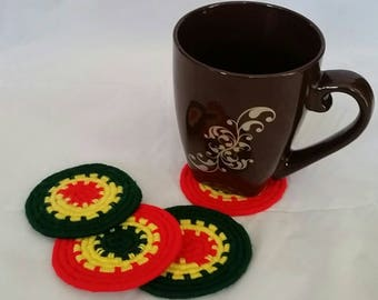 Rasta yarn wrapped coasters.