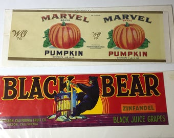 Two (2) Vintage Fruit Crate Labels Black Bear Zinfandel Grapes Marvel Pumpkin Northern California