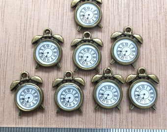 Alarm Clock Charms, Set of Eight. Small Size. Antique Style