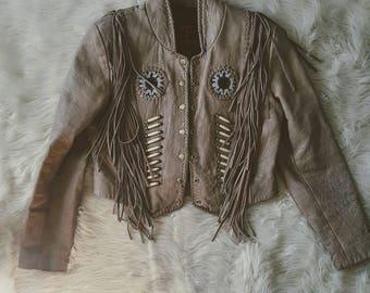 SALE Leather Easy Rider Vintage Fringe Leather Jacket. Size M, riding quality motorcycle jacket.