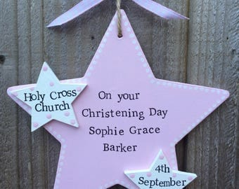 Personalised christening star plaque gift present