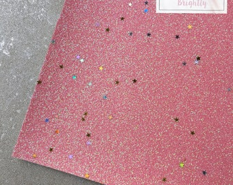 Pink Glitter and Stars Fabric - Craft & Bow Maker Fabric - A4 Sheet