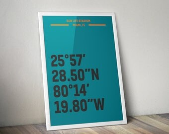 Sun Life Stadium Coordinate Print for Man Cave - Miami Dolphins - Fan Art Poster Typographic Print