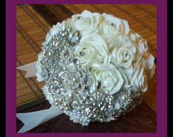 Brooch bouquet with floral bling. Custom colors available. 10 inches
