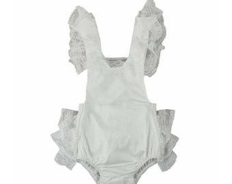 Infant Lace Romper white