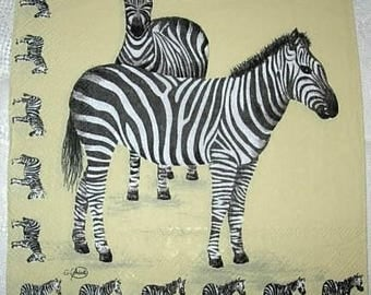 Napkin 2 zebras and little zebras
