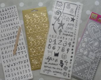 Set of 4 sheets of stickers