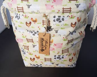 NEW* Little farm Drawstring project bag  small size