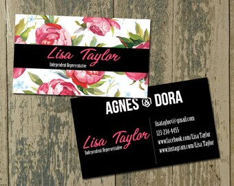 Agnes and Dora Business Cards, Double sided Agnes and Dora Business Cards, Marketing Card