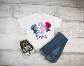 shimmer and shine birthday shirt, shimmer and shine, girls birthday shirt, shimmer and shine shirt, four year old birthday, birthday girl