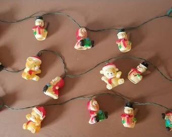 Vtg Christmas Blow Mold String Lights
