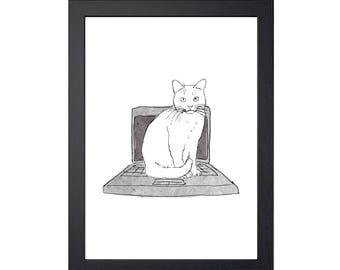 Cat Sitting on Laptop 8.5x11 Art Print, Wall Decor, Wall art, Funny Cat Art, Drawing Prints