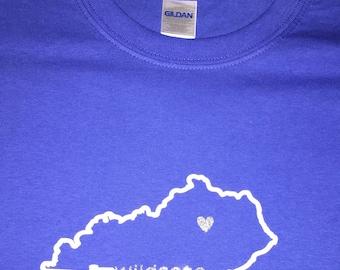 Custom Made Kentucky Wildcats State Outline Shirt Big Blue UK BBN