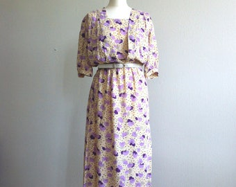 1980 summer dress viscose print pastel