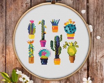 Cactus Cross Stitch Pattern for Instant Download - 107  Lovely Cross Stitch  Room Decor  Needlecraft Pattern  Easy Cross Stitch