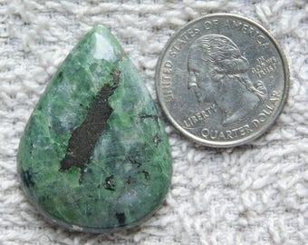 Awesome Chrome Diopside Gemstone cabochon loose gemstone top quality handmade smooth polish Pear shape one side flat 60.15cts (37x28x5)mm