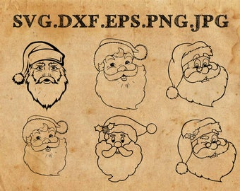 Santa SVG Cut Files, Christmas SVG Cut Files - Vector svg dxf eps png - Silhouette Cameo, Cricut, Cutting Machines & Transfer