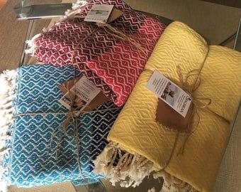 Turkish Peshtemal Handwoven 100% cotton small blankets/throws
