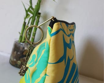 Yellow/Blue Hawaiian print clutch