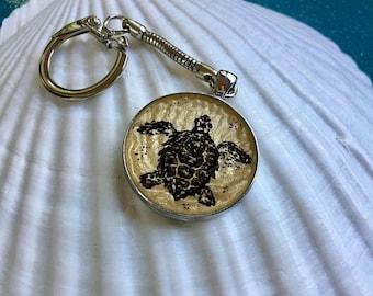 ON SALE Hand-painted Sea Turtle Keychain