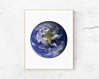 Earth Wall Prints, Planet Print, Astronomy Print, Earth From Space, Planet Wall Art, Space Art, Earth Print, Digital Prints
