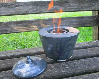 Double-walled shell of fire for bioethanol with ventilation and cover, fire, Garden fire ceramic, CA. 20 x 20 cm