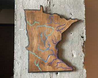Minnesota river map wall piece