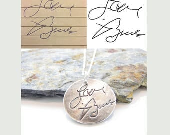 """PersonalizedSignature Jewelry - Loved Ones Handwriting on a Fine Silver 1"""" Pendant - Special Keepsake - Artisan Hand Crafted - Made to Order"""