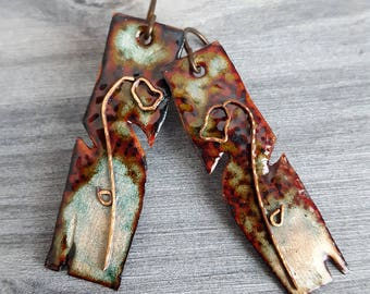 Unique Handmade Enamel Earrings - Natural Red and Green Rustic Copper Enamel