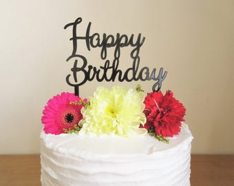 Happy Birthday Black Acrylic Laser Cut Cake Topper For Birthday Cake