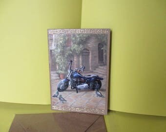 The old blue bike (embossed) 3D card