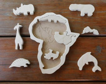 Wooden puzzle African animals, Plywood puzzle, Intellectual Kids Table Game, Educational Gift for Childrens, Toddler Wooden Toy